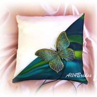 Teal and gold butterfly wedding ring bearer pillow