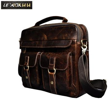 """Men Real Leather Antique Style Coffee Briefcase Business 13"""" Laptop Cases Attache Messenger Bags"""