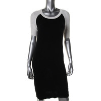 Vince Camuto Womens Knit Ribbed Sweaterdress