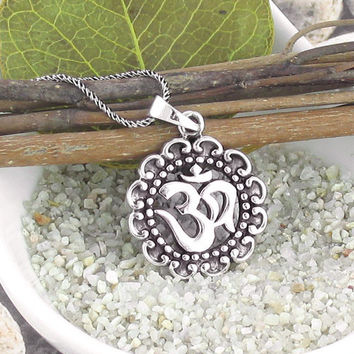 Om Medallion Necklace in Sterling Silver