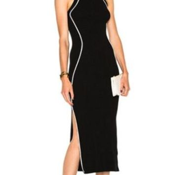 Lean On Me Sleeveless Scoop Neck Contrast Trim Bodycon Bandage Midi Dress - 2 Colors Available