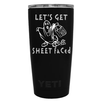 YETI 20 oz Lets get Sheet Faced Halloween on Black Matte Tumbler