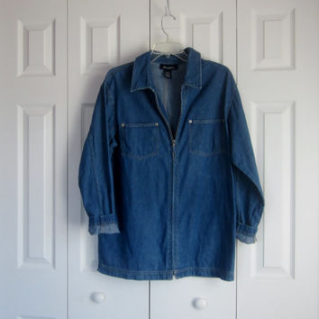 Vintage Zipper Front Denim Jacket, Long Denim Jacket, Womens Medium, 80s 90s Light Weight Casual Jacket