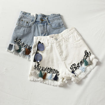 Fashion Embroidery Floral Shorts
