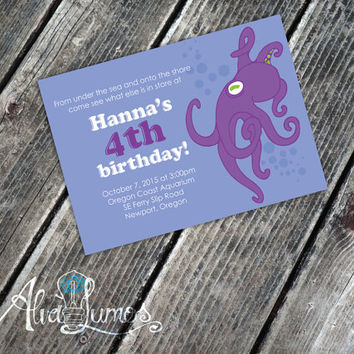 Birthday Party Invitation: Under the Sea Octopus - children's birthday party invite