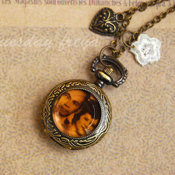 Personalized photo locket - a pocket watch necklace (for her) or lapel pin (for him)
