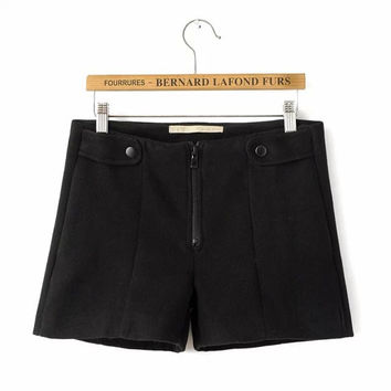 Winter Boot Cut Zippers Slim High Rise Shorts [4917777092]
