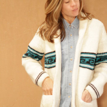 60s nordic CARDIGAN sweater jacket IKAT southwest style