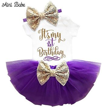 Girls Beautiful First / Second Birthday Tutu Party Dress With Sequin Bow Headband