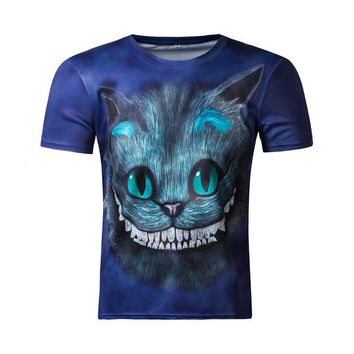 Men T Shirt 2016 New Funny Cheshire Cat 3D T-Shirt Alice In Wonderland Tops Tees Short Sleeve Summer Quick-Drying Tshirt Homme