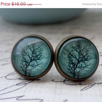 SHOP SALE - Aqua Tree Post Earrings in Antique Brass
