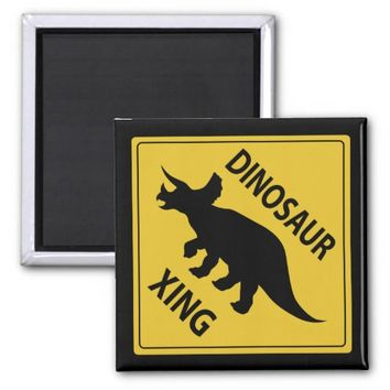 Dinosaur Xing 2 Inch Square Magnet