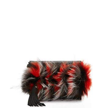 Elena Ghisellini Nina Mini Crazy Fur Clutch Bag, Papaya