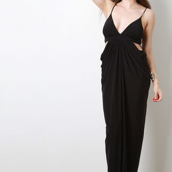 Side Cutout Drape Maxi Dress