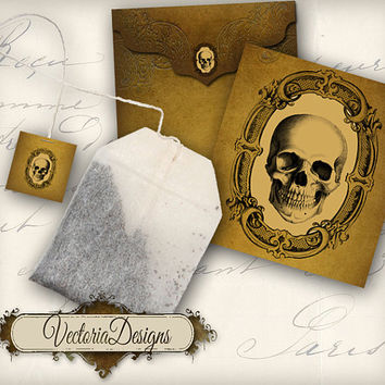 INSTANT DOWNLOAD Printable Halloween Skull Tea Bag Holder envelope tag digital collage sheet 084