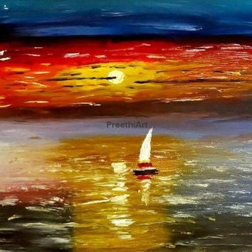 Fine Art Print Original Sunset Painting Colorful Sunset Bright Wall Decor Seascape Red Orange Yellow Blue Sunset Sunlight reflection