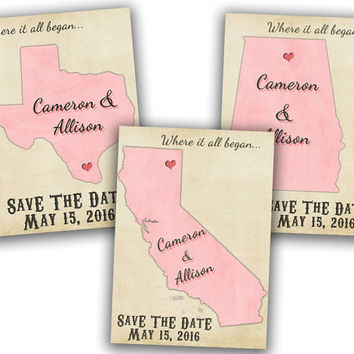 Custom State Save The Date - States Save The Date Postcard - Vintage Save The Date - Rustic Save The Date -  Cards - Pink - Heart - Distance