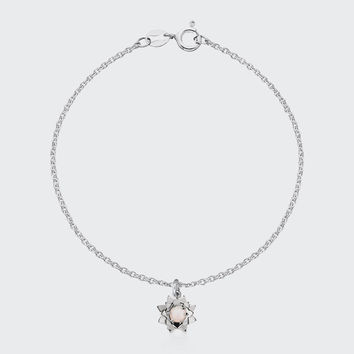Protea Charm Bracelet with Stone - silver/rose quartz