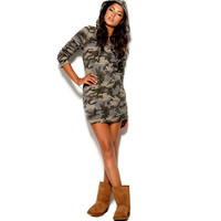 Casual Camo Hooded Streetwear Dress