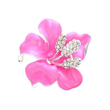 SENFAI Brooches for Women Fancy Gold Color Bridesmaid Dress Rhinestone Crystal Lily Flower Brooches