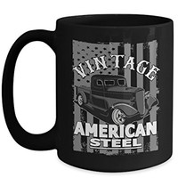 Vintage Truck 15 oz Coffee Cup American Steel USA Flag
