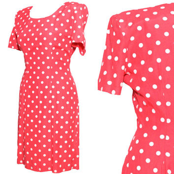 Vintage 1980s Pink and White Polka Dot Mini Dress | Brand My Michelle, Tag Says Size 7/8, Fits Small/Medium