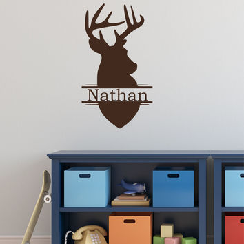 Deer Head Boys Name Wall Decal