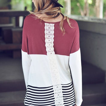 Burgundy and Crochet Colorblock Tunic Top