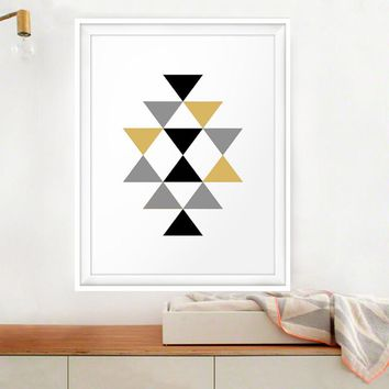 Abstract Triangles Canvas Painting Geometric Pictures Gold Black Posters Prints Aztec Wall Art Kids Nursery Home Decor No Frame