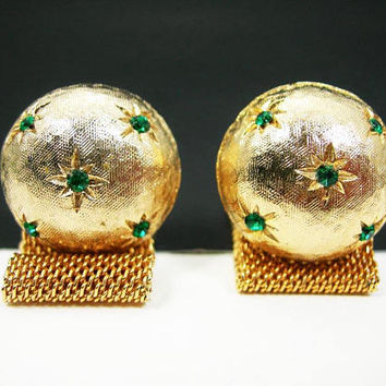 Golden Mesh Cufflinks -Emerald-green Rhinestones In Stars on Domed Orbs - Textured Goldtone Setting - Wedding Groom - Christmas Gift for Him