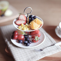 Ceramic fruit plates cake plate double-deck ceramic cake stand fashion white cake plate tableware 2J82