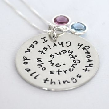 Quote Bible Verse Spiral Stamped Sterling Silver Necklace | I Can Do All Things Through Christ Who Strengthens Me