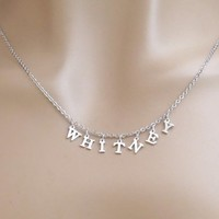 Capital letter, Name, Silver, Necklace, Lovers, Best friends, Mom, Sister, Gift, Accessory, Jewelry