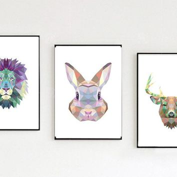 Nordic modern colorful geometric art animal decorative painting canvas paintings wall art unframed