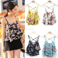 2014 New Retro Sexy Lace Flower Tank Top Sexy Cami Sleeveless Casual Cotton T-Shirt SV003758 Base shirt = 1745408708