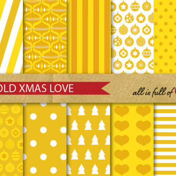 GOLD XMAS Digital Paper Pack CHRISTMAS Scrapbooking wrapping paper Instant Download