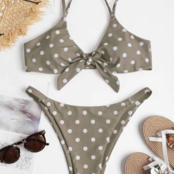 Sexy Split Wave Point Triangle Beach Bikini [1410545549348]