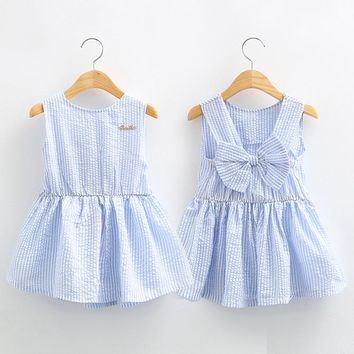 Girl Sleeveless Flower Dresses Princess Birthday Party bow dress Knee Length Dresses kids casual sleeveless clothes B07