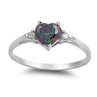 6MM (1ctw) Sterling Silver FIRE Rainbow Topaz Mystic HEART & 2MM (.25ctw) CLEAR CZ Ring Size 4-9