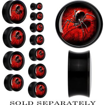 Black Acrylic Black Widow Spider Saddle Plug
