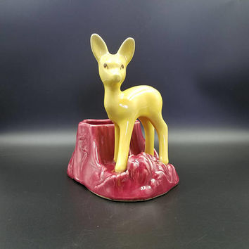 Vintage Shawnee Deer Planter ~ Red & Gold ~ Mid Century Decor