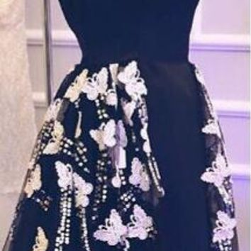 Fashionable Custom made Organza Black Evening dresses 2017 butterfly and Lace Beading Dubai Kaftan Evening gowns Plus size