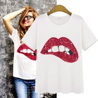 White Sequin Bite Lips Shirt