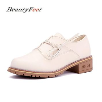 BeautyFeet Fashion Women Shoes Female Flat Shoes Round Toe Lace Up Oxford Casual Shoes Woman Pu Leather Brogue Zapatos Mujer