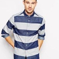 ASOS | ASOS Denim Shirt In Long Sleeve With Block Stripe at ASOS