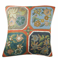 BOHEMIAN HANDMADE CUSHION COVER SUZANI EMBROIDERED INDIAN PILLOW CASES 16X16