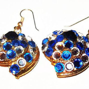 """Blue Rhinestone Snail Pearl Earrings Nautical French Wire Hooks High End 2"""" Vintage"""