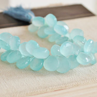 Aqua Blue Chalcedony Briolette Gemstone Faceted Heart 12.5 to 13mm 13 beads
