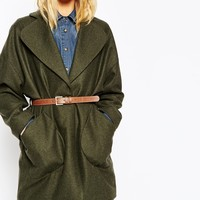 ASOS TALL Coat in Cocoon Fit With Patch Pocket and Belt