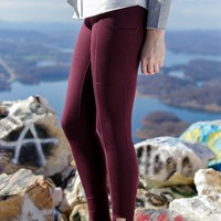 Criss Cross Side Pocket Leggings, Plum